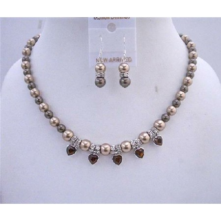 Heart Crystals Bronze Pearls Brown Dark Chocolate Pendant Jewelry Set