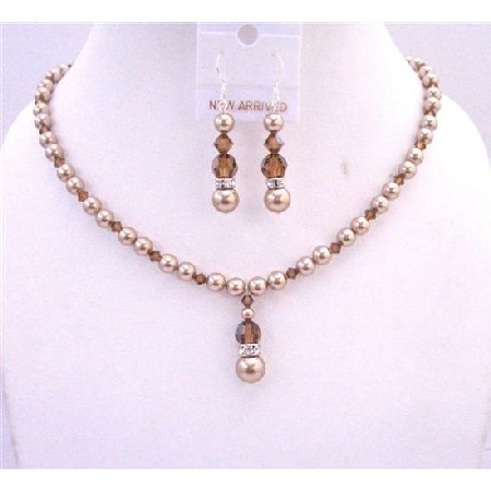 Bronze Pearls Smoked Topaz Crystals Handcrafted Necklace Set