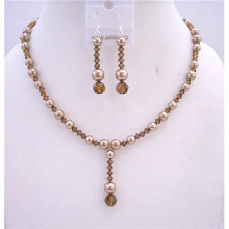 Bronze Pearls Smoked Topaz Crystal Drop Down Wedding Jewelry