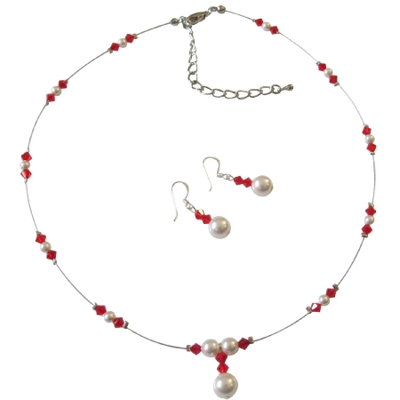 Cream Pearls Lite Siam Red Crystals Swarovski Handcrafted Jewelry Set