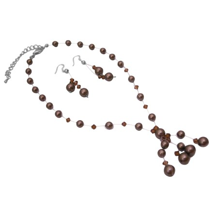 Brown Pearls Smoked Crystals Custom Bridal Drop Tassel Jewelry Set