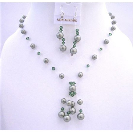 Custom Powder Green Pearls Turmarine Green Crystals Tassel