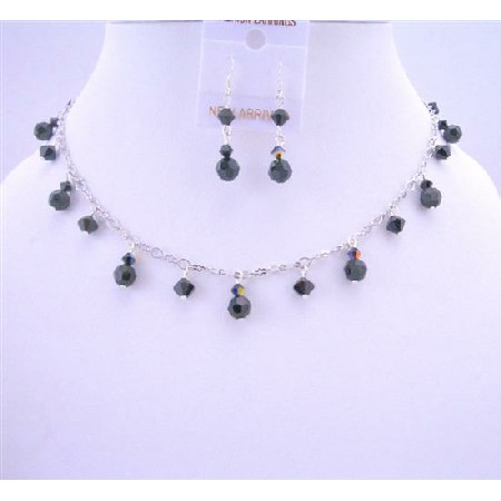 Evening Party Jewelry Mystic Pearls Necklace AB Jet Crystals