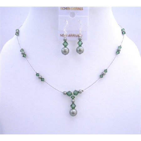 Powder Green Turmarine Pearls & Crystals Bridal Bridesmaid Jewelry Set