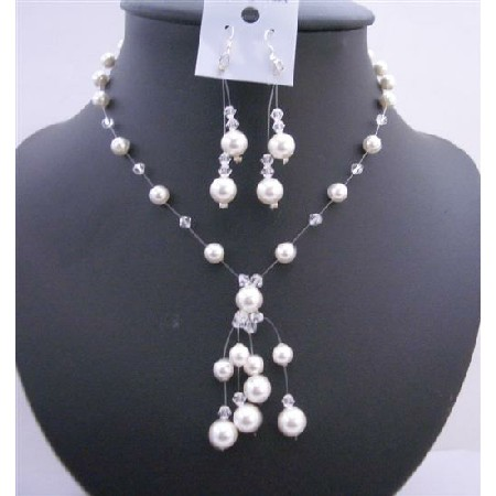 Wedding White Pearls Clear Crystals Necklace Jewelry Set