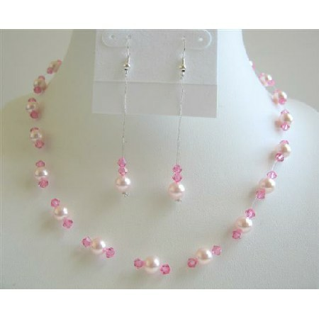 Rose Pink Pearls with Rose Pink Crystals Bridesmaid Wedding Jewelry Set