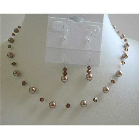 Bronze Pearls Wedding Jewelry Set with Smoked Topaz Crystals