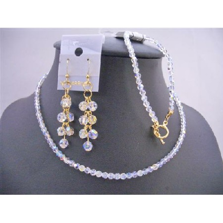 Peach Pearls Smoked Topaz Crystals Necklace Set