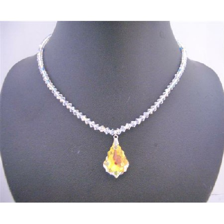 Swarovski AB Crystals Necklace w/ Briollette Pendant Necklace