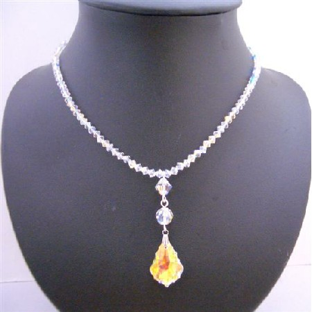 AB Crystals w/ Briollette Pendant Necklace AB Crystals Beads