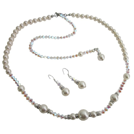 AB 2x Crystals w/ Ivory Pearls Bridal Jewelry Back Drop Set
