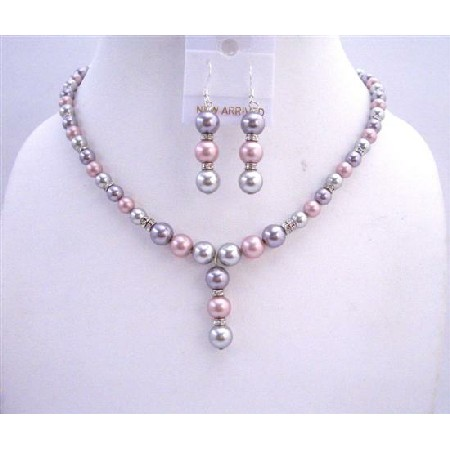Tri Color Bridal Jewelry Champagne Rose Grey Pearls w/ Silver Rondells