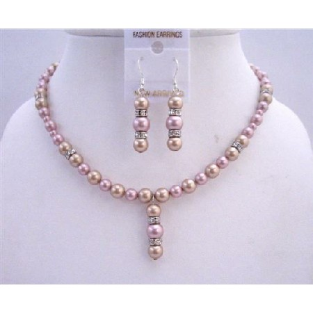 Two Shaded Pearls Bridal Jewelry Champagne Rose w/ Rondells