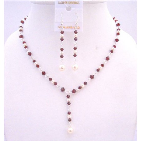 Bridal Dark Siam Red Crystals Drop Down Necklace White Pearl