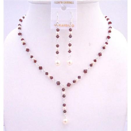 FashionJewelryForEveryone.com Dark Siam Red Crystals Drop Down Necklace w/ White Swarovski Pearls Genuine Swarovski Pearls & ...