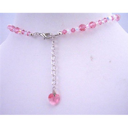Rose Crystals AB w/ Crystals Heart Back Dangle Drop Necklace