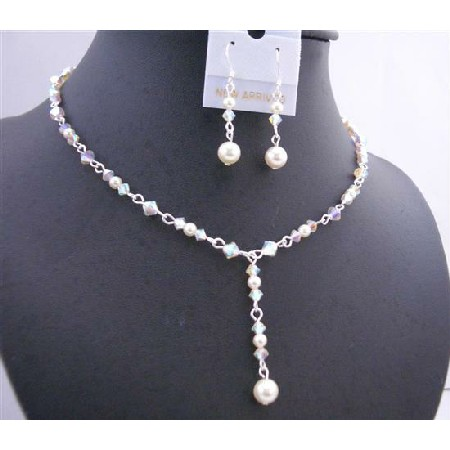 White Crystals AB 2X Cream Pearl Y Shaped Bridal Jewelry Set