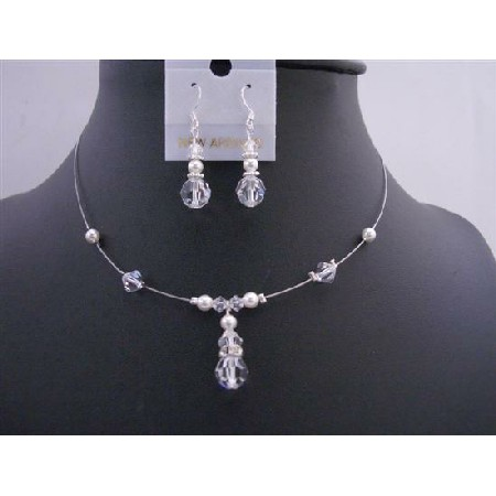 Bridesmaid Clear Crystals White Pearls Wedding Necklace Set