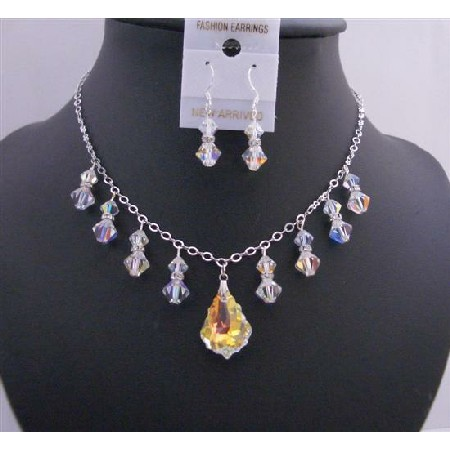 AB Baroque Pendant AB Crystals AB Bicone Formal Jewelry Set