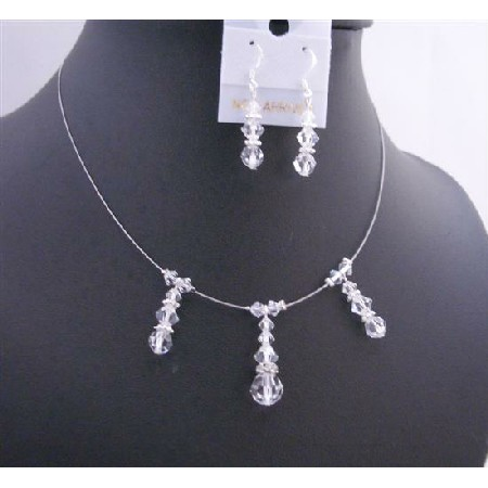 Bridesmaid Handcrafted Jewelry Clear Crystals Necklace Set
