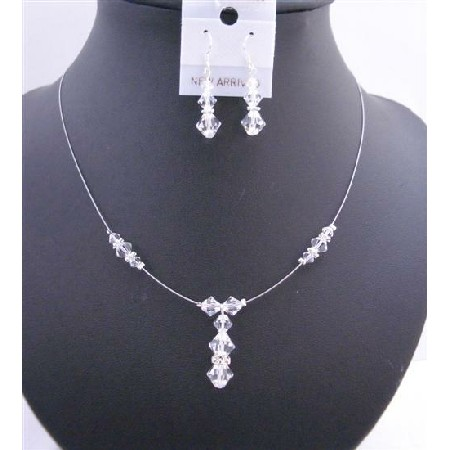 Custom Bridal Wedding Necklace Clear Crystals Silver Rondell