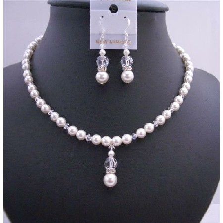 Handmade Jewelry Set White Pearls & Clear Crystals