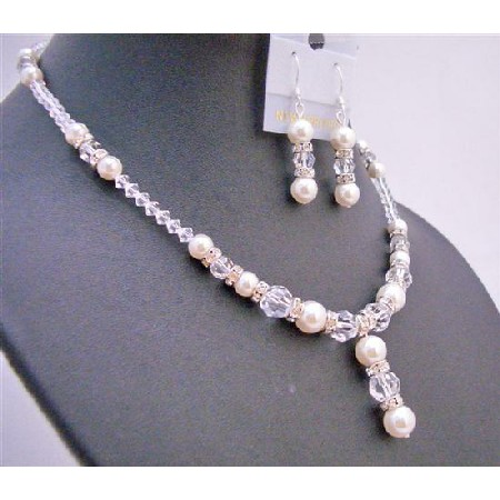 Necklace Set Off White Pearls Clear Crystals Silver Rondells