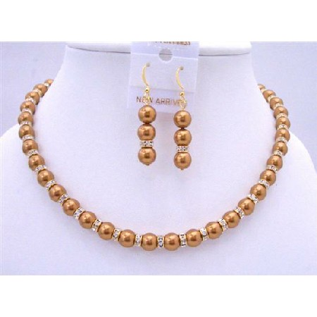Bridal Copper Pearls Jewelry Set Gold Rondells Spacer 22k Gold Plated