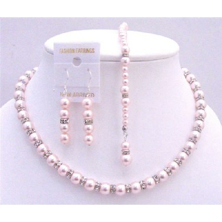 Pink Pearls Back Drop Down Necklace Bridal Jewelry Set Silver Rondells