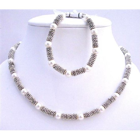White Pearls 7mm Bridal Necklace & Bracelet w/ Bali Silver Accented