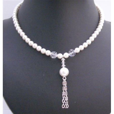 White Pearls Pearls 8mm Necklace Tassel Drop Down Necklace