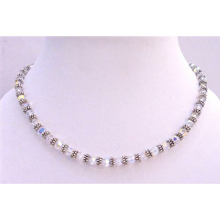 Bridal AB Crystals Necklace w/ Bali Silver Spacer