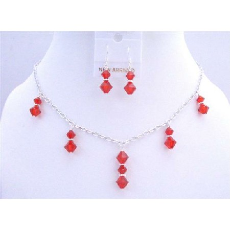 Lite Siam Red Crystals Necklace Beads Dangling Jewelry Set