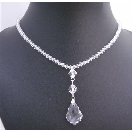 Clear Crystals Briollette Pendant Necklace Beads