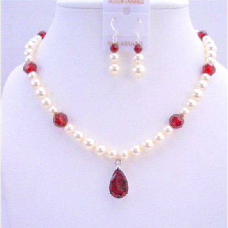 Handcrafted Custom Bridal Jewelry Cream Pearls Siam Red Crystals Set