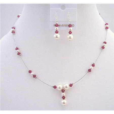 White Pearls AB Ruby Crystals Handcrafted Jewelry