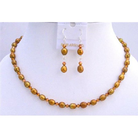 Copper Freshwater Rice Shaped Pearls Shaped Crystal Necklace