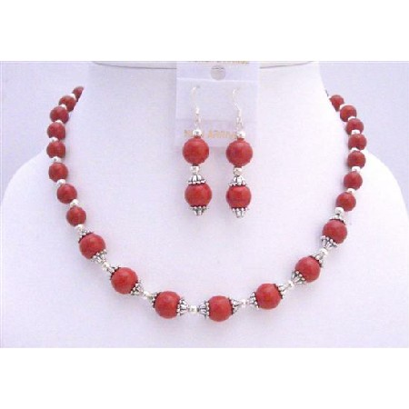 Red Coral 7mm & 9mm Beads Bali Caps Beads Jewelry Coral Necklace Set