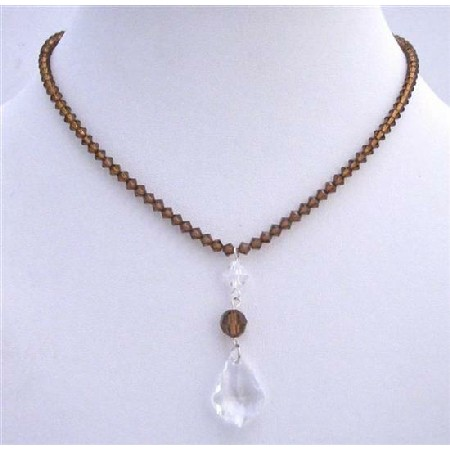 Smoked Topaz Clear Crystals Polygon Beads Necklace