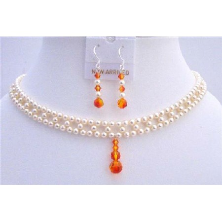 Bridal Jewelry Ivory Pearls Fire Opal Crystals Drop Down Set