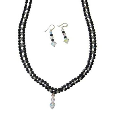 Black Swarovski Pearls Necklace Handmade Bridal Jewelry w/ AB Crystals