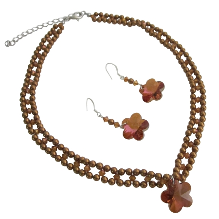 Copper Pearls Crystals Necklace Handmade Bridal Jewelry Set