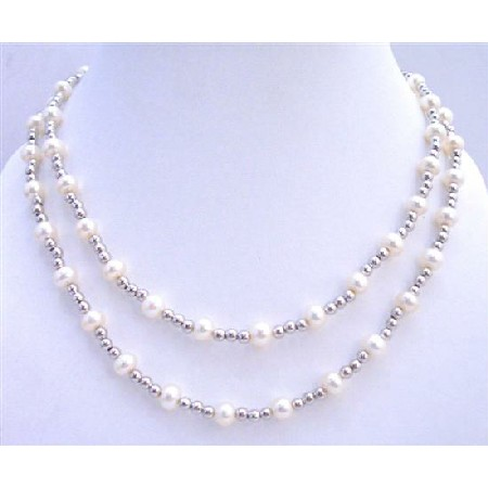 Wedding Bridal White Freshwater Pearls Double Stranded Beads Necklace