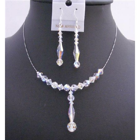 AB Crystals Bridal Wedding Necklace Set 6mm Bicone Round