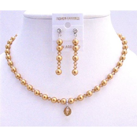 Gold Pearls Lite Colorado Crystals Jridal Custom Jewelry Set