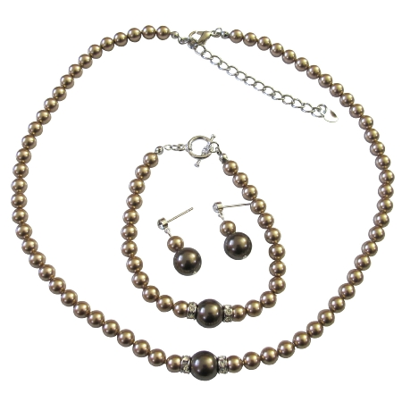 Bridal Necklace Earring Bracelet Bronze Chocolate Brown Pearl Rondells