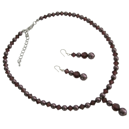 Wine Color Bridal Jewelry Meroon Pearls Burgundy Crystals Complete Set
