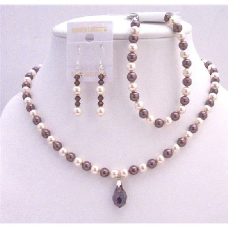 Ivory Burgundy Pearls Bridal Necklace Custom Wedding Jewelry