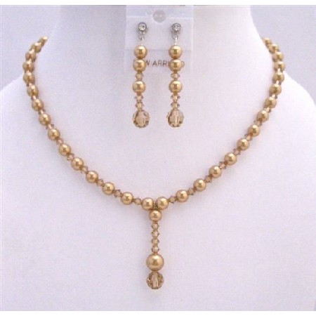 Drop Down Golden Pearls Colorado Bridal Handcrafted Crystals Jewelry