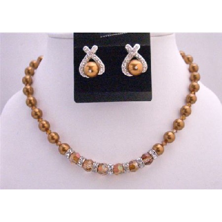 Copper Pearls Round Copper Crystals Jewelry Bridal Rondells Necklace